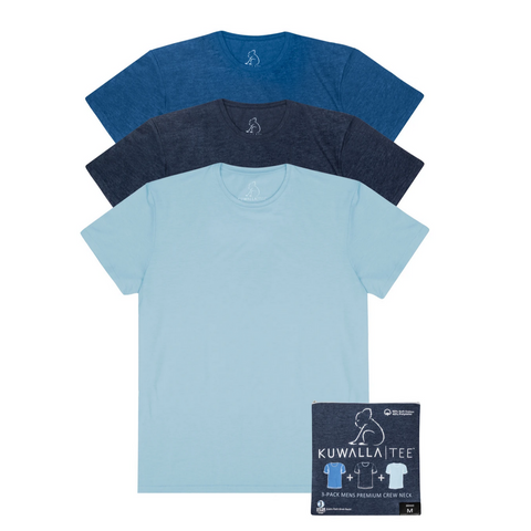 3 Pack Crew Neck, Shades of Blue
