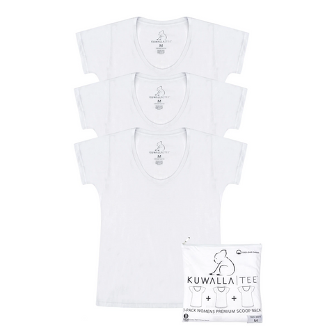 3 Pack Tees- Scoop Neck, White