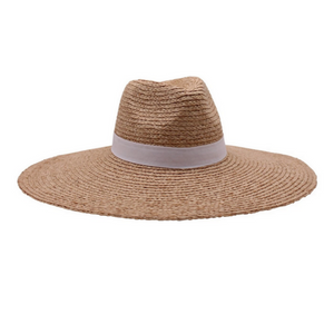 Bramwelli, Finely Braided Straw Fedora- White Band