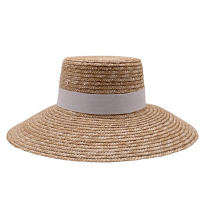 Calvi, Braided Wheat Straw Boater- Natural/White