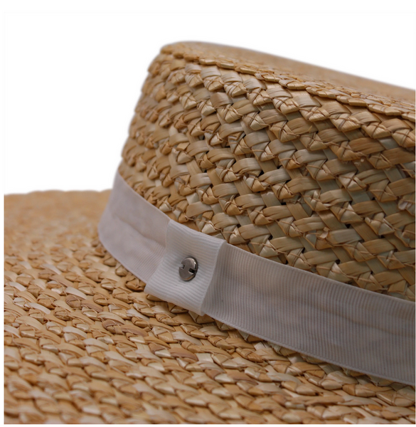 Zig Zag Braided Boater Hat- Natural/White