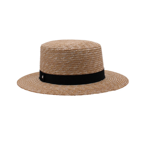 Thalia Natural Short Brim Boater- Black Band