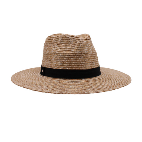 Rhea, Natural Wheat Braided Fedora- Black Band