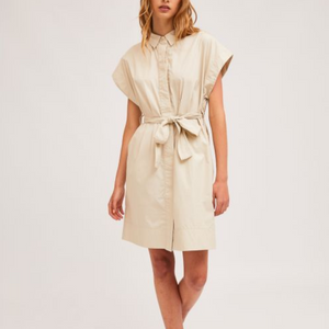 Beige shirt dress with seamless cap sleeves
