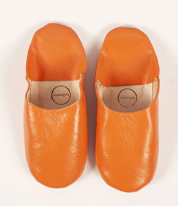 Leather Babouche Slipper- Tangerine