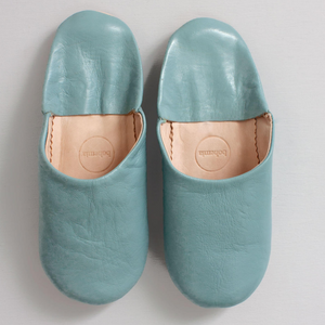 Leather Babouche Slipper- Vintage Blue