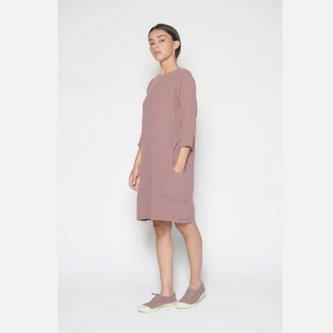 Aubergine Tunic Dress with Pockets