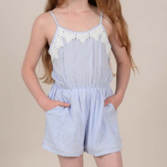 Girls woven playsuit, Light Blue