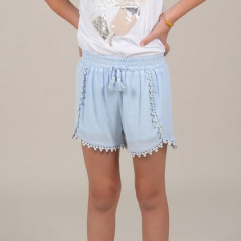 Girls woven short, Light Blue