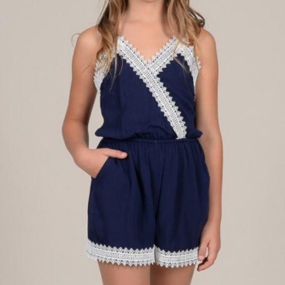Girls woven playsuit, Navy Blue