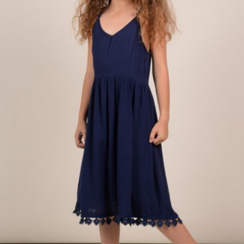 Girls woven dress, Navy Blue