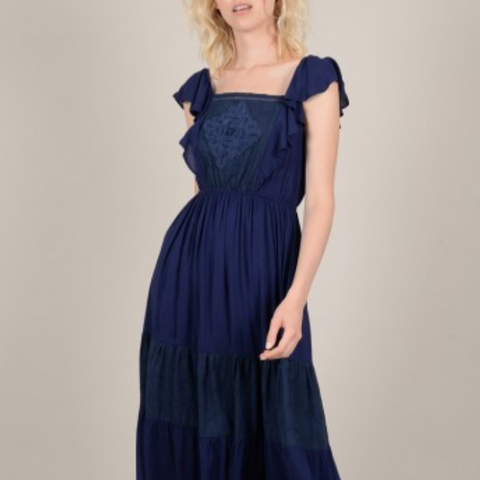 Ladies Woven Dress, Navy Blue