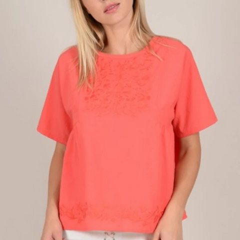 Ladies Woven Top, Coral