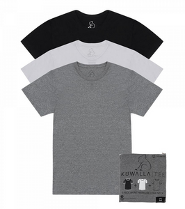 3 Pack Crew Neck, BLK/WHT/GRY