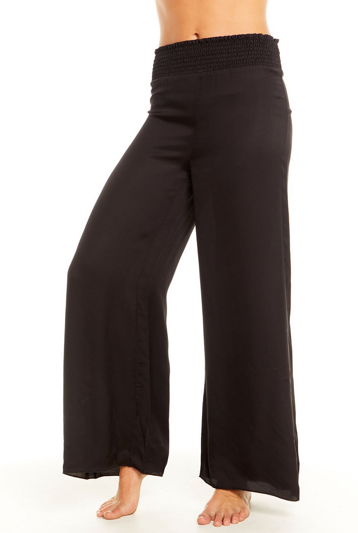 Silky Smocked Waist Wide Leg Pant