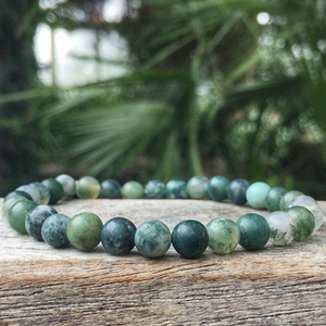Moss Agate Matte (Dark Green/Clear) , 6mm