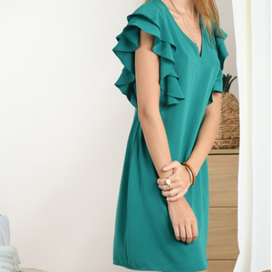 Ruffled V-Neck Dress- Green