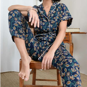 Silky Printed Jumpsuit- Sydney Navy