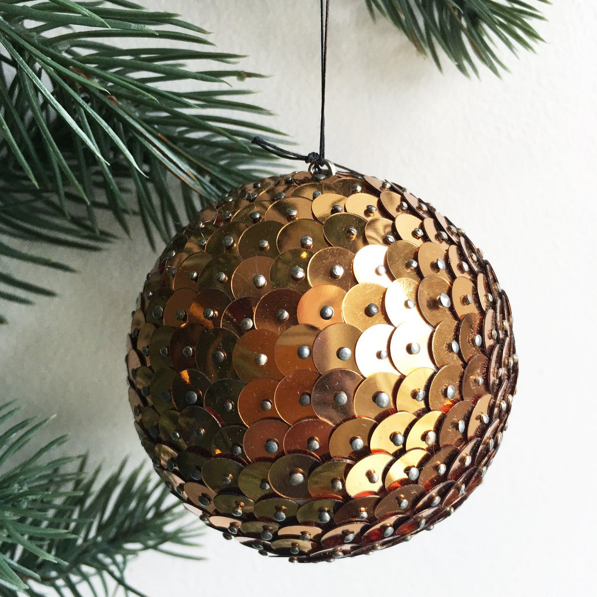 "Cottage Ind- 3""x 3"" Pinned Sequin Ball, Copper"