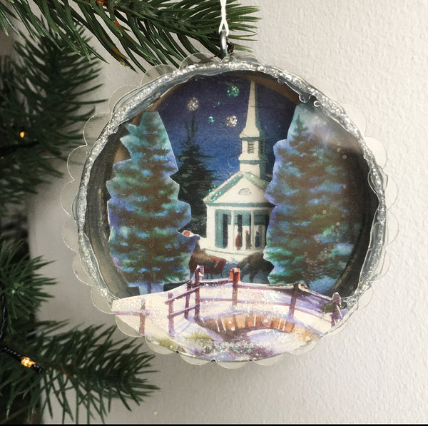 Cottage Ind- Jar Ring Diorama, Winter scenes
