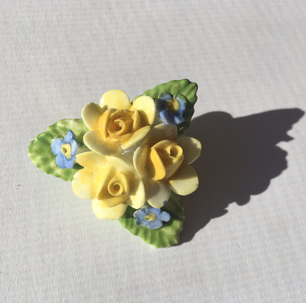 Bone China Flower Brooch- Vintage