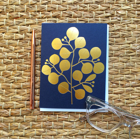 Greeting Card- Gold Leaf on Navy Card