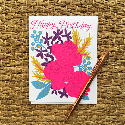 Greeting Card- Happy Birthday, Flowers
