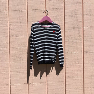 Girls Knitted Sweater, Navy Stripe