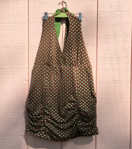 50's Halter Top, Brown with Green Hearts
