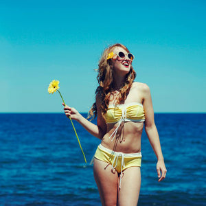 Tie Bandeau in Yellow/White