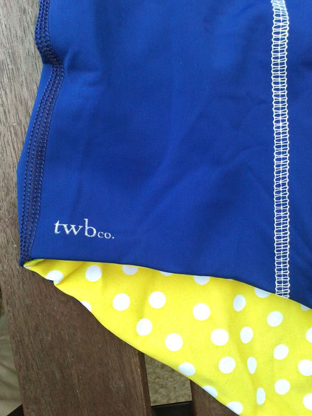 Miss. Woods Bather in Royal Blue/Yellow Dot