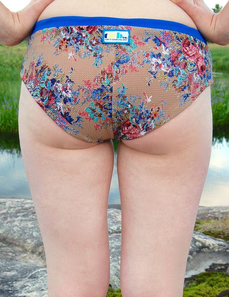 Shorties in Beige Floral/Bluebell/Coral