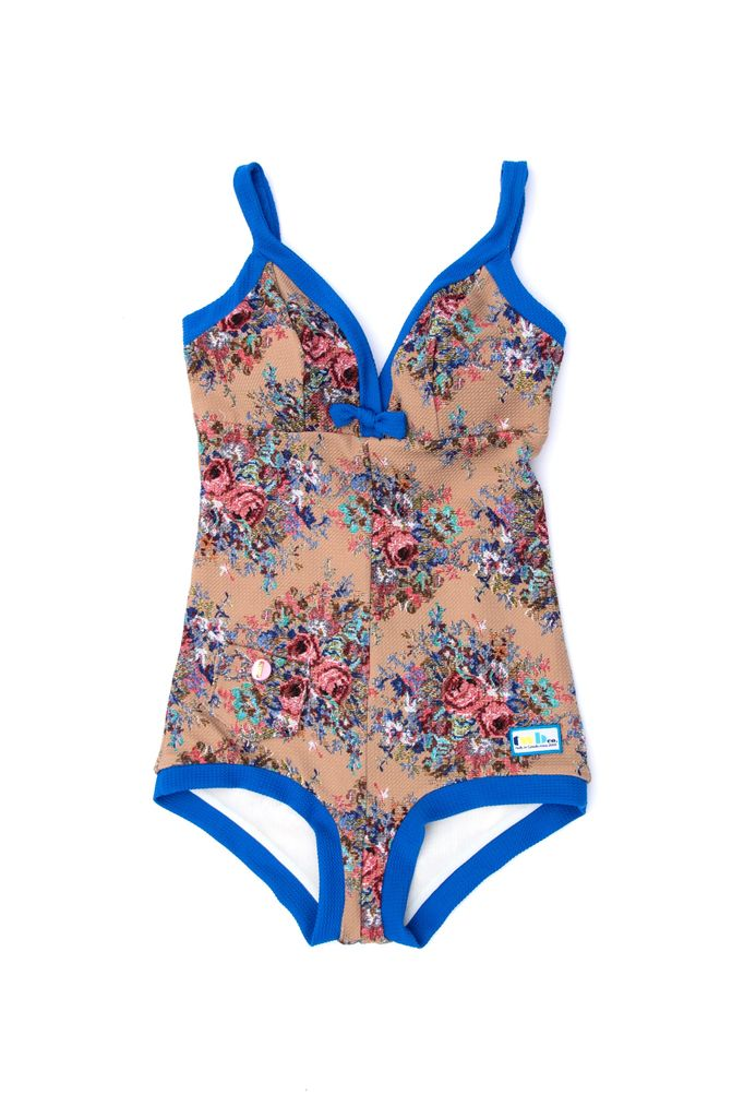 The Deco Suit in Beige Floral/Coral/Bluebell