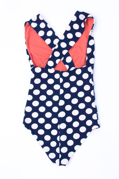 The Norma Suit in Navy Dot/Watermelon