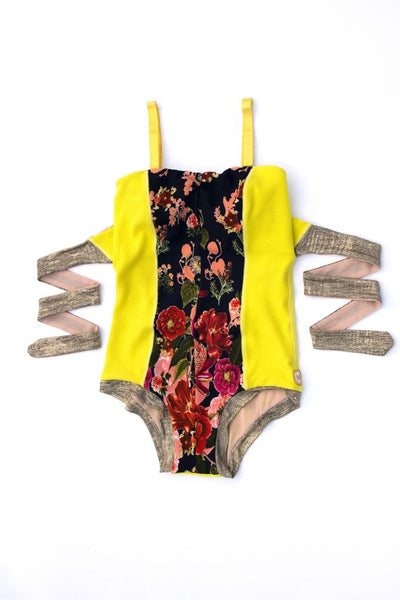 The Water Lily Suit in Chartreuse/Floral