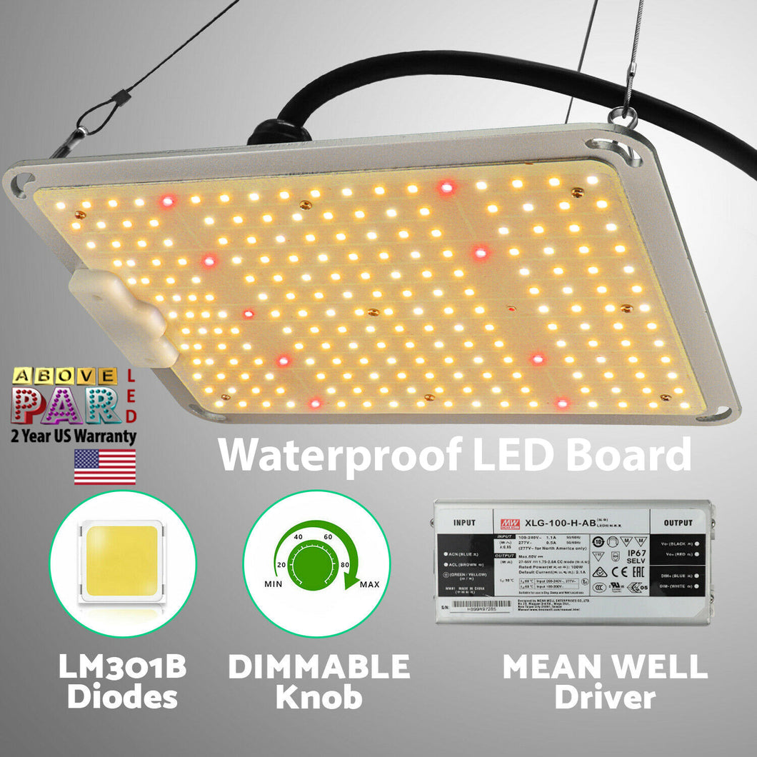 Above PAR Brand 100W Quantum Board Grow Light 3000k & 5000K Samsung LEDs with Deep Red UV 660nm R Spec & IR 750nm (HLG Style)