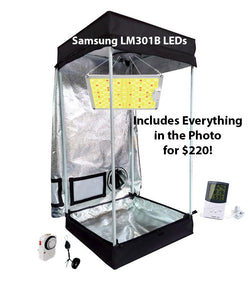 2x2 ft 4ft Tall LED Grow Tent Kit - Samsung 100w LED Option in Photo