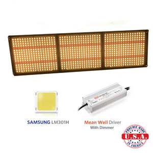320W Quantum Board Grow Light 3000k Samsung LM301H LEDs with Deep Red 660nm R Spec (HLG Style)