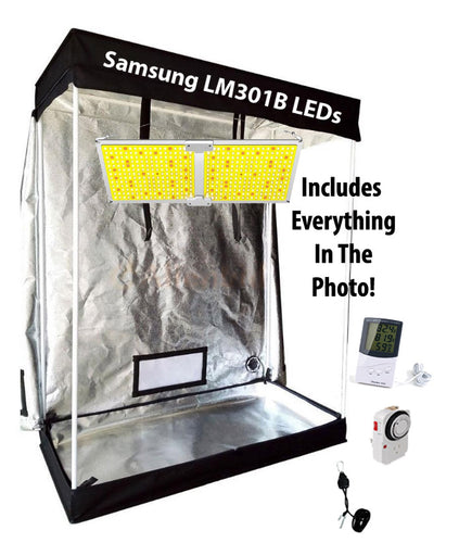 4x2 ft 5ft Tall Above PAR LED Grow Tent Kit - 220w Samsung Quantum Board LED in Main Photo