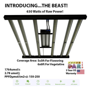 "630w Above PAR ""The Beast"" LED Grow Light Samsung lm301h & lm301b + UV 3000K & 3500K 6 Bar QB …"