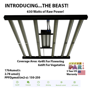 "5x5 ft Grow Pro Above PAR Samsung LED ""The Beast"" with UV + IR + Deep Red Grow Tent Kit"