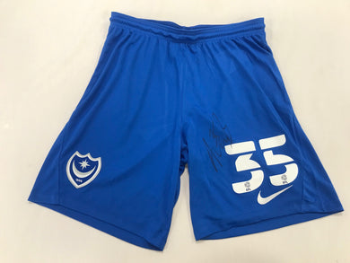 Alex Bass Hand Signed Match Worn Goalkeeper Shorts Vs Stevange