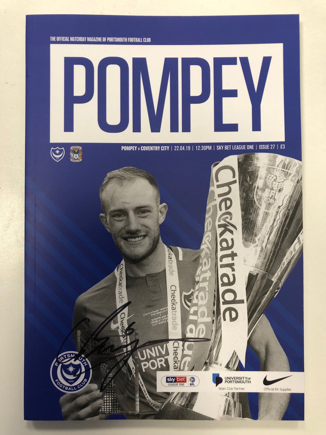 Signed by Christian  Burgess Portsmouth FC Match Day Programme Versus Coventry City FC