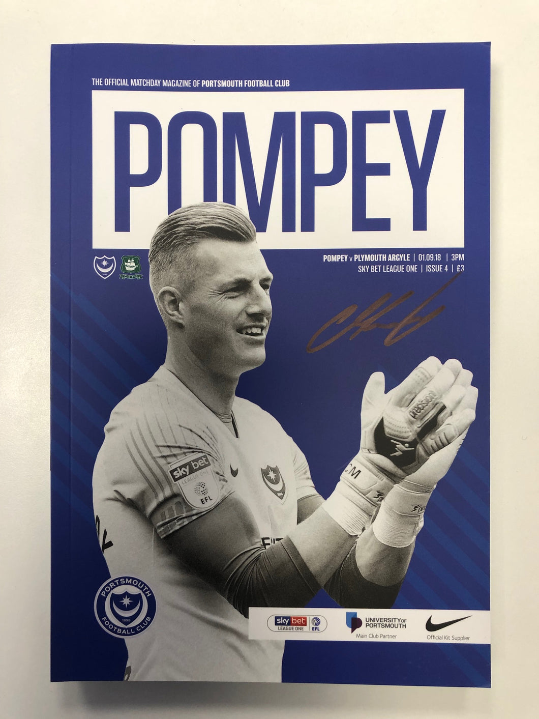 Signed Match Day Programme Vs Plymouth Argyle FC