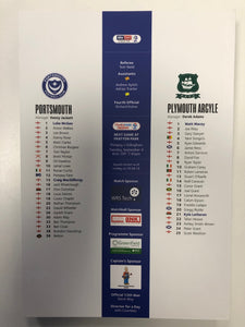 Signed Portsmouth FC Match Day Programme Versus Plymouth Argyle FC
