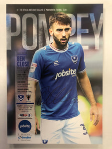Signed Ben Close Portsmouth FC Match Day Programme Versus AFC Wimbledon FC