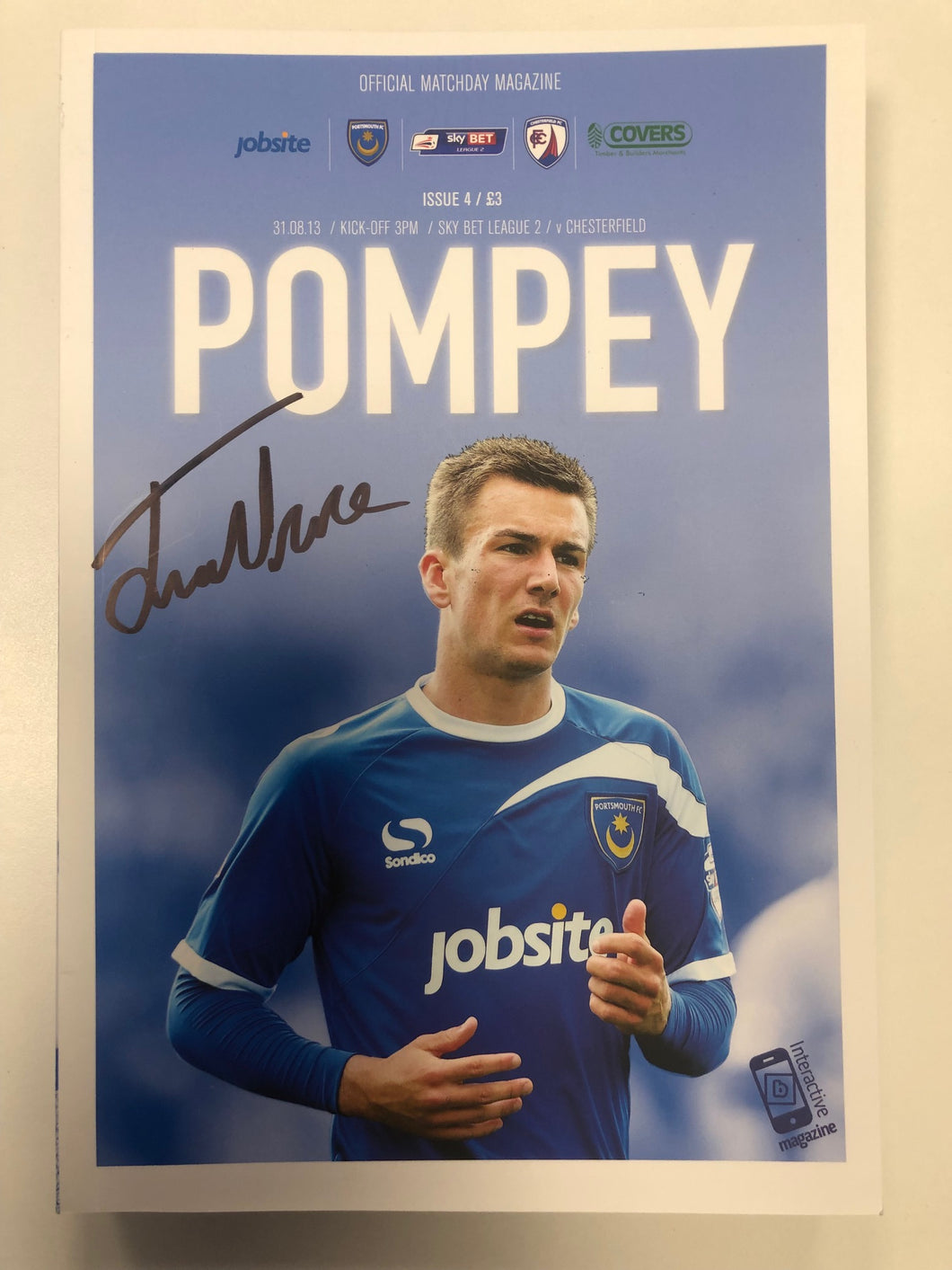 Jed Wallace Signed Portsmouth FC Match Day Programme Versus Chesterfield FC
