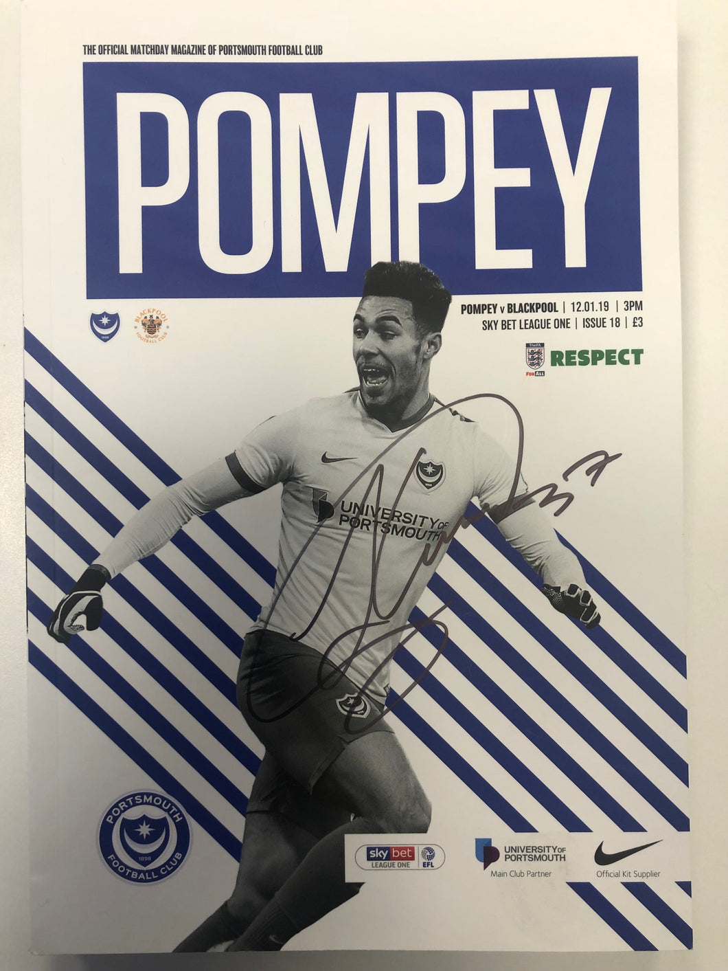 Signed by Andre Green Portsmouth FC Match Day Programme Versus Blackpool FC