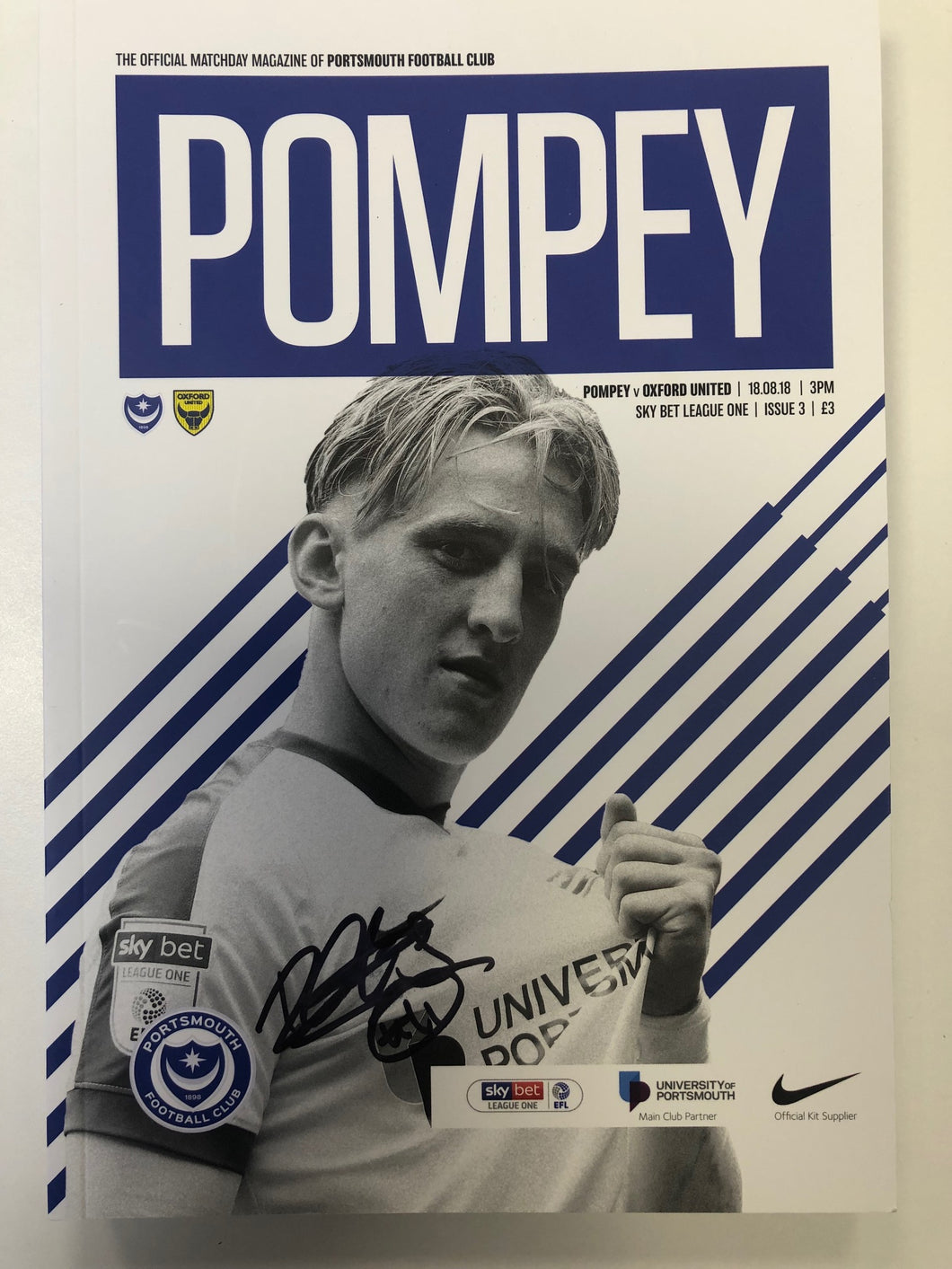Signed by Ronan Curtis Match Day Programme Vs Oxford United FC