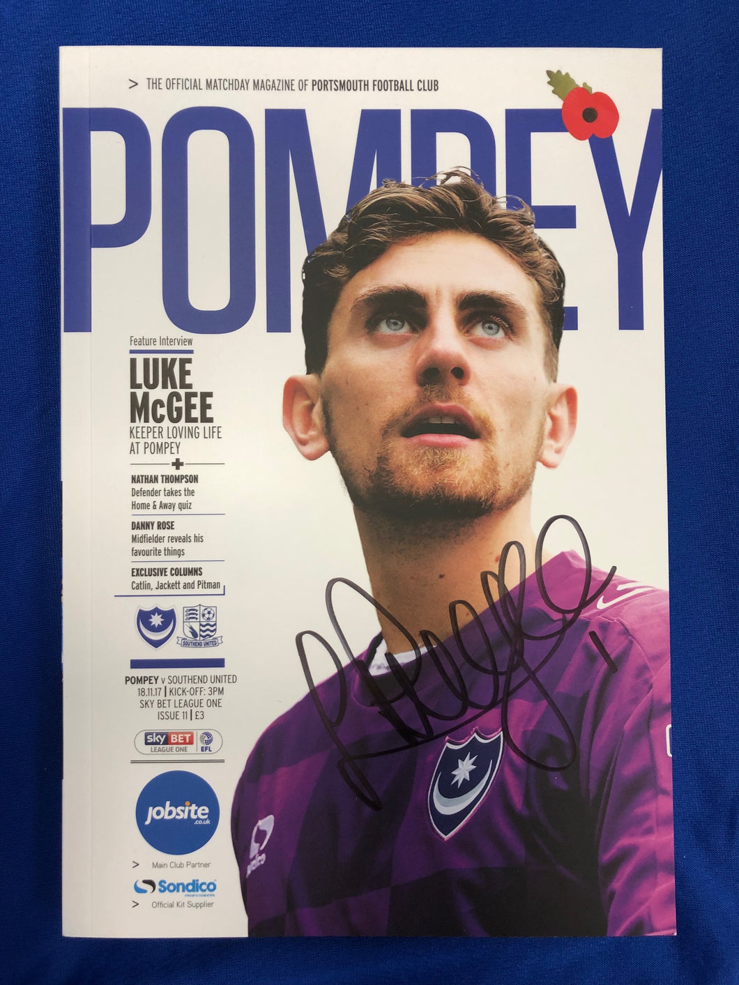 Signed Luke McGee Match Day Programme Vs Southend United FC